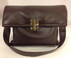 Coffee Bean Brown Faux Leather Purse Bag Brass Gold Latch by CYGI, $28.00