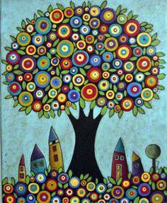Tree of Life /Karla Gerard art Art Fantaisiste, Karla Gerard, Naive Art, Dot Painting, Whimsical Art, Art Plastique, Tree Art, Painting Inspiration, Art Lessons