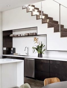 55 Simple And Inspirational Kitchen Under Stairs Design With White and Black Room Design : 55 Simple And Inspirational Kitchen Under Stairs Design Interior Ideas Gallery : hpMirror. Kitchen Sets, New Kitchen, Loft Kitchen, Basement Kitchen, Compact Kitchen, Kitchen Small, Kitchen White, Kitchen Under Stairs, Space Saving Kitchen