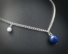 Gemstone Earth and Moon Necklace Space-Jewelry.com