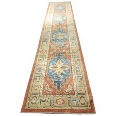 "Vintage Turkish Oushak Runner Rug - 2'4"" x 14'7"" ($2,100) ❤ liked on Polyvore featuring home, rugs, geometric pattern rug and pile rug"