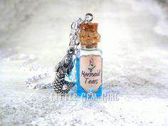 Meerjungfrau Tränen Flasche Halskette - Glas Flasche Korken Halskette - trank Fläschchen Charme - blaue Liquid Shimmer - Zaubersprüche Once Upon a Time