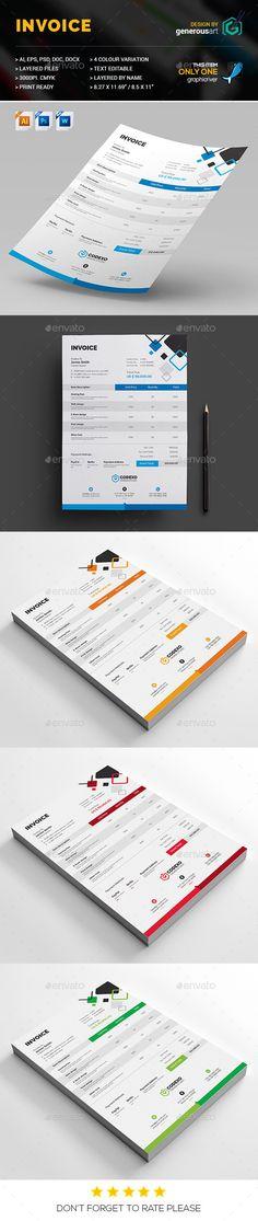 Invoice Template PSD Proposal templates, Psd templates and Font logo - web design invoice template