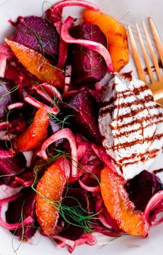 Roasted Beet Salad with Fennel, Orange, and Whipped Ricotta. A refreshing summer main course or side salad!