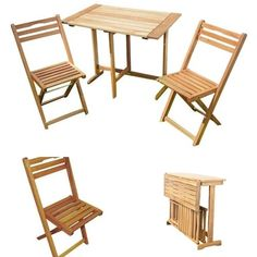 Dining Wooden 2-Seater Bistro Set Table Chairs FoldingGardenPicnicPatioFurniture