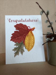 Congratulations Fall themed card by Melodie.  Simon Says Stamp sentiment, Stampin Up stamp and die sets.  Embossed with a Texture Impressions leaf folder by Sizzix.