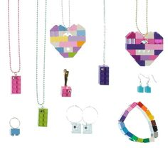 Lot of 15 pieces of Jewelry made from LEGO R by MademoiselleAlma #MademoiselleAlma #LEGO #ETSY