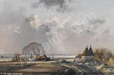 Rowland Hilder - The estuary Watercolor Sketch, Watercolor Landscape, Watercolor Painting, Landscape Paintings, Landscapes, Oil Painters, Black And White Drawing, Treasure Island, Pastel Art