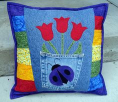 Red Tulip Purple Ladybug Recycled Denim Jean by BackPocketDesign