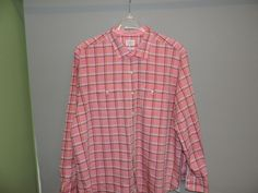 Tommy Bahama Big Man Designer Pink Plaid 2 Pocket Button Front Shirt 2XL Mint  #TommyBahama #ButtonFront