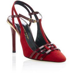 018fa47b04a21 Oscar de la Renta Patent Leather   Suede Red Rocio Pump