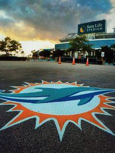 Miami Dolphin logo outside Sun Life Stadium in Miami Gardens, FLA Miami Dolphins Stadium, Miami Dolphins Logo, Football Gear, Football Stadiums, Key West Beaches, Sports Stadium, Sports Teams, Miami Springs, Dolphins