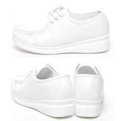 White 4cm Wedge Nursing Comfort Loafers Lace-Ups Women Shoes US 4.5 / UK 2 #Unbranded #LoafersMoccasins