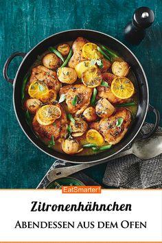 One-pan Lemon & Chicken Potato Bake Baked Garlic Chicken, Chicken Potato Bake, Oven Chicken, Chicken Potatoes, Lemon Chicken, Small Chicken, Meat Recipes, Chicken Recipes, Cooking Recipes