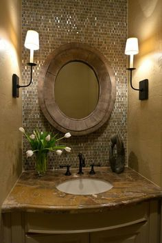 Gorgeous small bathroom Half Baths, Back Splashes, Backsplash Tile, Small Bathrooms, Mosaic Tiles, Powder Rooms, Accent Walls, Glass Tiles, Guest Bathrooms