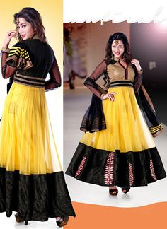 Party Wear Yellow And Black Anarkali Suit Product Code: 5750    6,799/-INR   