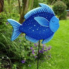 """JuniBlau Gartenstecker  """"seliger Blau- Mondfisch"""" von KIMAMA-design Andrea Abraham auf DaWanda.com"""