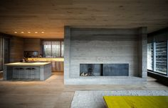 Love the mix of smooth concrete, raw solid oak wood and hand- treated welded steel in this Swiss barn conversion by Ruinelli Associati Architetti. Old Fireplace, Concrete Fireplace, Concrete Wood, Fireplaces, Poured Concrete, Contemporary Architecture, Architecture Design, Loft Industrial, Scandinavia Design