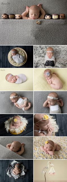 When nerdy meets girly. Super cute grey and yellow themed newborn photo shoot with Emilia. Sunny S-H Photography Winnipeg