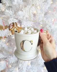 """""""Trying to warm up with some hot chocolate. Notice the cute little gingerbread house on the mug! (It even tastes good too!) 😍😍 You can buy them here:…"""" Christmas Mood, Noel Christmas, Merry Little Christmas, Pink Christmas, Christmas Morning, Christmas And New Year, All Things Christmas, England Christmas, Christmas Pictures"""