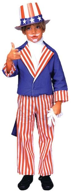About Costume Shop Uncle Sam Child Costume - Uncle Sam Child CostumeCelebrate Your Independence!Costume Includes: Jacket with tails, pants and shirt front.Available sizes: Small Medium LargeHat and shoes sold separately. Scary Costumes, Pet Costumes, Halloween Costumes For Kids, Children Costumes, Halloween Ideas, Uncle Sam Costume, Patriotic Costumes, Popular Costumes, Outfits 2014