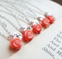 Bridesmaid gifts Five Coral necklaces pink rose by BriguysGirls