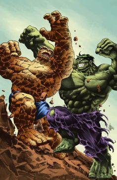 #Hulk #Fan #Art. (Thing vs Hulk. Colors) By: Alexandre Palomaro. (THE * 5 * STÅR * ÅWARD * OF: * AW YEAH, IT'S MAJOR ÅWESOMENESS!!!™) ÅÅÅ+
