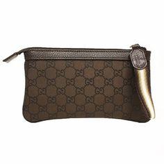 ed946bf8328 Gucci Brown Nylon and Leather GG Logo Web Wristlet 339557 Guccio Gucci