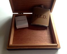 Groomsmen Gift - Set Of 8 Humidor Cigar Boxes & Flasks - Personalized Laser…