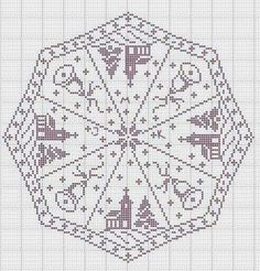 Filet crochet tablecloth for Christmas Crochet Christmas Decorations, Christmas Crochet Patterns, Holiday Crochet, Cross Stitch Embroidery, Embroidery Patterns, Cross Stitch Patterns, Filet Crochet Charts, Crochet Stitches, Crochet Tablecloth
