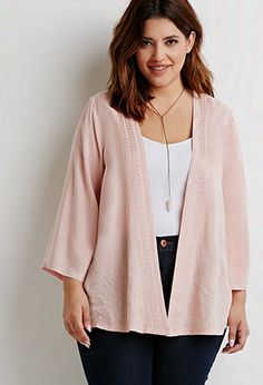 Diamond-Embroidered Kimono | Forever 21 PLUS - 2000054177