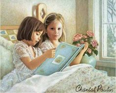 Reading together in bed. (colored pencil?)
