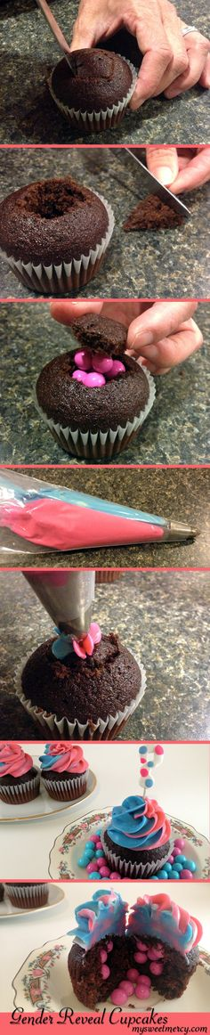 ♡❤ ❥▶ An Awesome Gender Reveal Dessert! Decorate your own Gender Reveal Cupcakes with this simple tutorial! We used Sixlets candies that we got at a local party store, Zurchers, but you can probably find them at any party store near you. Gender Reveal Cupcakes, Baby Shower Gender Reveal, Baby Gender, Gender Party, Cupcake Cookies, Pinata Cupcakes, Girl Cupcakes, Reveal Parties, Baby Party
