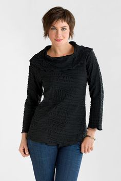 Fiore Cowl Neck Top by Carol Turner . In a sumptuous sculpted European knit, this top is a delight to wear perfect for work, travel, and everyday life.