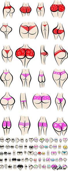 Женские трусики, ягодицы в векторе. Feminine panties in the vector Papo, Erotic Art, Clip Art, Funny Images, Women, Funny Humour, Swimwear, Dressing Rooms, Shapes