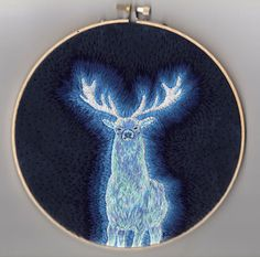 fuckyeahembroidery:    by mer-ow  HARRY POTTER STAG PATRONUS EMBROIDERY FINISHED!!!!!!!! Made by me, Kjersti Faret. This is Harry's Stag Patronus glowing in the night! I hand dyed the fabric and the stitching is all done by hand as well.Much love, time and effort went into this! Might be doing more patronuses for other characters sometime in the future, not sure though. Depends on time! Guess what! -YOU CAN BUY THIS ON ETSY! And check it out onmy art blargh!  This is sooo awesome!