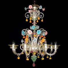 """My """"some day"""" purchase: a Murano Venetian glass chandelier. Murano Glass, Murano Chandelier, Venetian Glass, Venetian Mirrors, Chandelier Lighting, Unique Chandelier, Crystal Chandeliers, Lustre Floral, Crystals"""