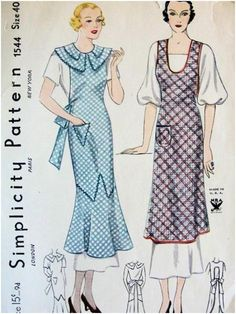 Simplicity 1544 Art Deco apron sewing pattern, 1930s.