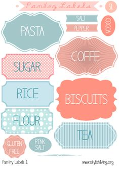 Free Printable Pantry Labels set of Print on Worldlabel full sheet labels and cut out. Printable Labels, Printable Paper, Free Printables, Labels Free, Printable Recipe, Small Pantry Organization, Organizing Labels, Organization Ideas, Kitchen Labels