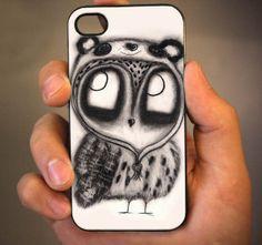 owl in panda hat 4/4s,5/5s/5c, Samsung Galaxy s3/s4 Case