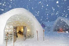 Snow falling at the Ice Hotel in Sweden