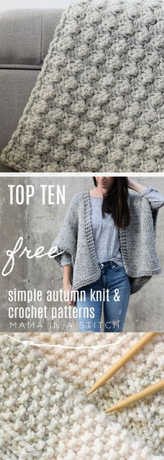 Baby Knitting Patterns Top Mama In A Stitch Top Fall Knitting and Crochet Patterns Crochet Cardigan Pattern, Crochet Shawl, Free Crochet, Knit Crochet, Baby Knitting Patterns, Crochet Patterns, Print Patterns, Fall Knitting, Knitting And Crocheting