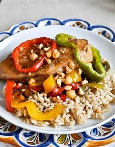 Light Skillet Chicken with Peppers and Peanuts I howsweeteats.com