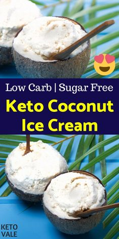 Keto Coconut Ice Cream Low Carb Sugar Free Recipe This low carb, healthy and keto-friendly ice cream recipe is pretty simple and easy. For the main ingredients, we only need egg yolks, full-fat coconut cream, and heavy cream. Helado Keto, Keto Eis, Keto Postres, Keto Ice Cream, Coconut Ice Cream, Coconut Flour, Recipe For Low Carb Ice Cream, Sugar Free Ice Cream, Avocado Ice Cream