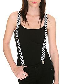 HOTTOPIC.COM - Black And White Checkered Suspenders