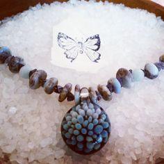 Glass starburst, Stone #Necklace, blue beaded jewelry, glass #pendant, #geometric jewelry, bead necklace, iolite, blue lace agate, aventurine