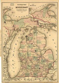 Railroad Map of the Lower Peninsula of Michigan 1925 Michigan