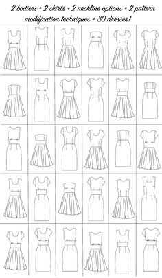 You'll be able to make 30 dresses from the first of my downloadable interchangeable patterns.