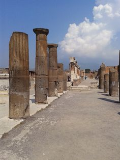 Pompei - Naples - Italy - columnswe saw this 1969. First level exposed