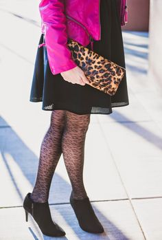 Leopard accents.